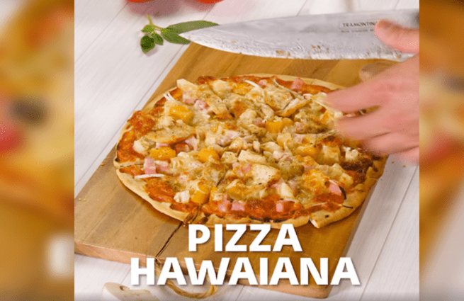 Deliciosa pizza hawaiana